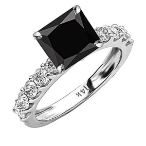 2.9 Carat t.w 14K White Gold Classic Side Stone Prong Set Diamond Engagement Ring w a 2 Carat Princess Cut Black Diamond Heirloom Quality