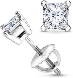 34 Carat Solitaire Diamond Stud Earrings Princess Cut 4 Prong Screw Back (J-K Color, SI1-SI2 Clarity)