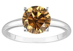 5 Carat Platinum Round Brown Diamond 4 Prong Diamond Engagement Ring