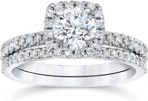 5/8 Carat Cushion Halo Diamond Engagement Wedding Ring Set White Gold