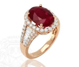 6.23ct Natural Untreated Ruby in 18k Rose Gold with 1.52cts of Diamonds