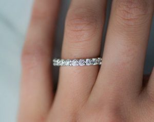 14K White Gold Ladies 1.50CTW.* Contoured Common Prong Diamond Eternity Ring
