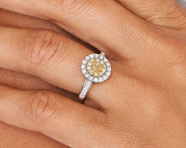 18K White Gold Oval Halo Fancy Yellow Diamond Ring