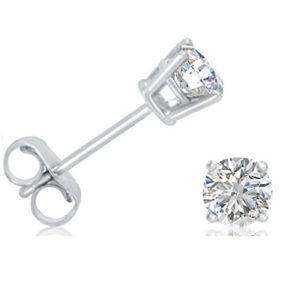 AGS Certified 12ct tw.Round Diamond Stud Earrings set in 14K White Gold