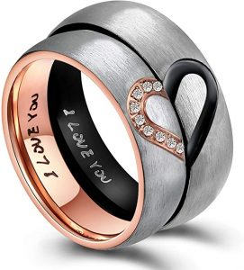 ANAZOZ His & Hers Real Love Heart Promise Ring Stainless Steel Couples Wedding Engagement Bands Top Ring