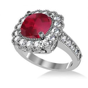 Allurez Ruby and Diamond Cushion Halo Milgrain Edged Engagement Ring
