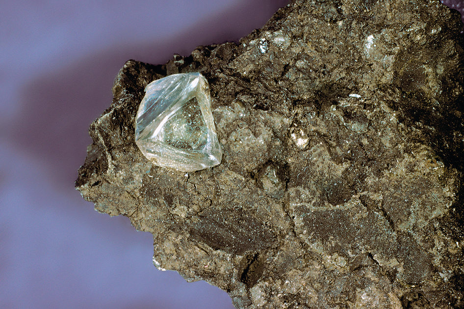 Diamond within a rock matrix