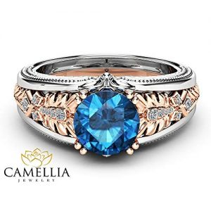 Blue Diamond Vintage Ring 14K White and Rose Gold Ring 2 Carat Engagement Ring