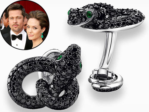 Brad Pitt also owns a pair of black diamond serpent cuff-links given by Angelina Jolie.