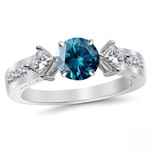 Channel Set 3 Three Stone Princess Diamond Engagement Ring with a 3 Carat Blue Diamond Heirloom Quality Center