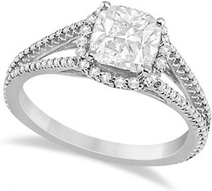 Cushion Cut Diamond and Moissanite Engagement Ring Halo Split Shank Palladium 1.84ctw