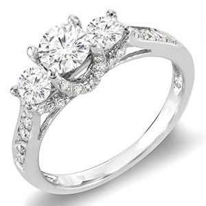 DazzlingRock Collection 0.98 Carat (ctw) 14K Gold Round Diamond 3 Stone Ladies Vintage Style Bridal Engagement Ring