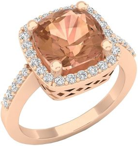 Dazzlingrock Collection 10K 8.50 MM Cushion Cut Morganite & Round Cut Diamond Bridal Halo Engagement Ring, Rose Gold