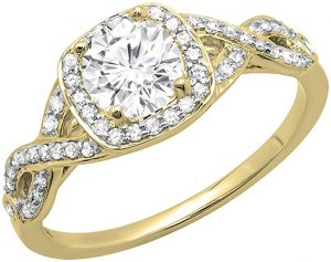Dazzlingrock Collection 14K Gold Round Moissanite & White Diamond Ladies Swirl Split Shank Halo Engagement Ring