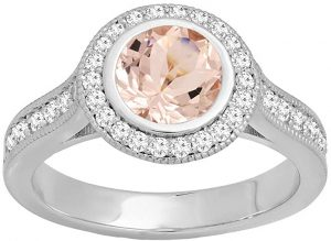 Dazzlingrock Collection 14K Ladies Bridal Halo Engagement Ring, White Gold