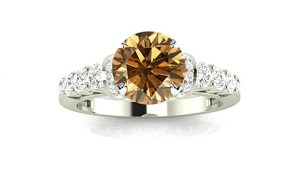 Designer Four Prong Pave Set Round Diamonds Engagement Ring with a 1.5 Carat Brown Diamond Heirloom Quality Center
