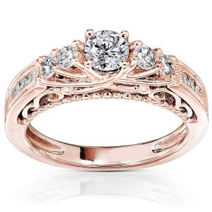 Diamond Engagement Ring 34 CTW in 14K Rose Gold