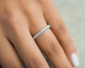 Diamond Eternity Ring on Finger