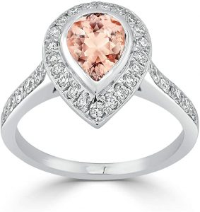 Diamond Wish 18k White Gold 910ct Morganite and 58ct TDW Diamond Halo Engagement Ring