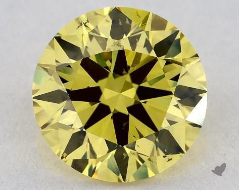 1.01 Carat Round Diamond Fancy Deep Yellow SI1 Clarity