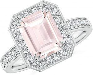 Emerald-Cut Morganite Engagement Ring with Diamond Halo (9x7mm Morganite)