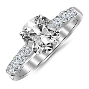 GIA Certified 1.04 Carat Cushion CutShape 14K White Gold Classic Prong Set Diamond Engagement Ring 4 Prong with a 0.53 Carat, J Color, SI1 Clarity Center Stone
