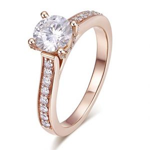 Hafeez Center 14K Solid Gold DEF VS 1ct 6.5mm Round Brilliant Cut Halo Solitaire Moissanite Engagement Rings Women