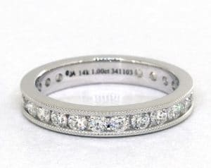 14K White Gold Ladies 1.00ctw* Milgrain Channel Set Diamond Eternity Ring