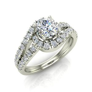 Intertwined Diamond Engagement Ring Wave Shank 14K Gold 1.20 ct