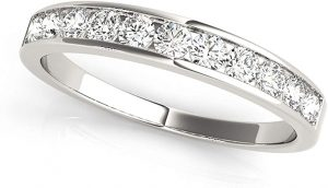 JewelMore 12ctw Diamond Channel Wedding Band in 10k White Gold