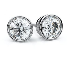 Jewelry Pop Up Shop Elegant Bezel Set 18K White Gold 2 18ctw Fine Diamond Stud Earrings