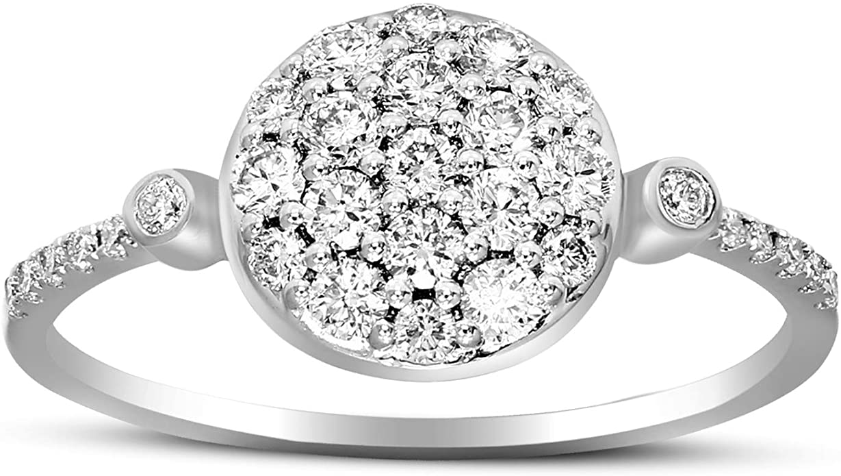 Lab Created Diamond Cluster Ring Engagement Rings For Women