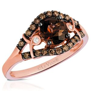 LeVian 0.75 Carat Round Cut Chocolate Quartz Ring in 14K Rose
