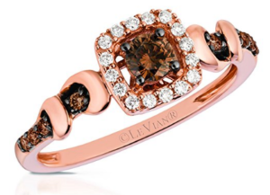 LeVian 14K Rose Gold Cushion Halo Chocolate & Vanilla Diamond Ring