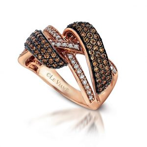 LeVian Chocolate & White Diamond Ring in 14kt Rose Gold
