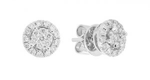 London Fine Jewelry 14K White Gold 0.45 cttw Round-Cut Diamond Pressure Stud Earrings