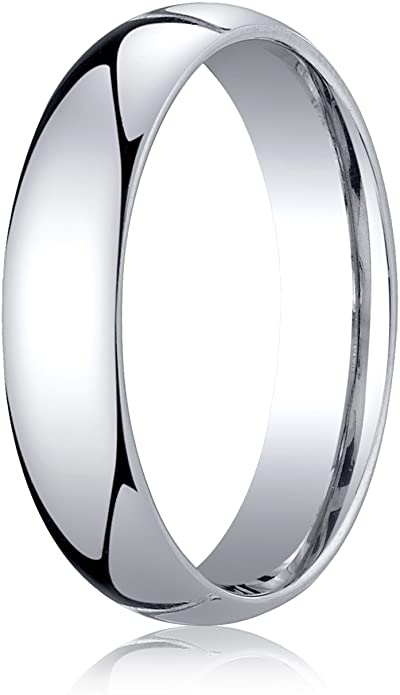 Men's Palladium 5mm Slightly Domed Standard Comfort Fit Wedding Band Ring