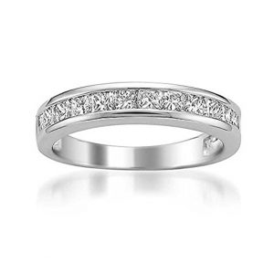 Platinum Princess-cut Diamond Bridal Wedding Band Ring