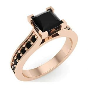 Princess Cut Black Diamond Engagement Ring 14K Gold 1.00 ct tw (AAA)