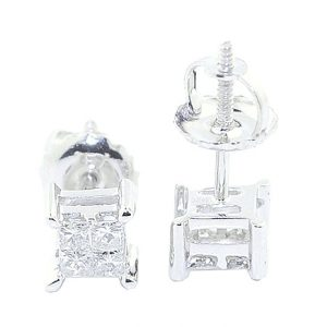 Princess Cut Diamond Earrings Studs Screw Back 10K Yellow Or White Gold