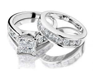 Princess Cut Diamond Engagement Rings for women and Wedding Band Set in 10K White Gold