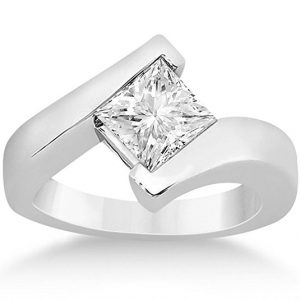 Princess Cut Solitaire Twist Style Tension Set Diamond Engagement Ring