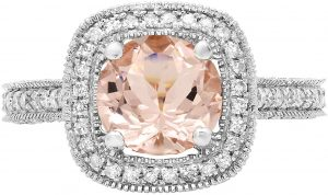 Round Morganite Gemstone & White Diamond Ladies Halo Style Bridal Engagement Ring, White Gold