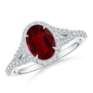 Ruby and Diamond Halo Split Shank Ring (GIA Certified Ruby)