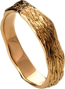 Solid Gold Twig Textured Wedding Band Set His and Hers Wood Bark Ring 4.5mm Wide