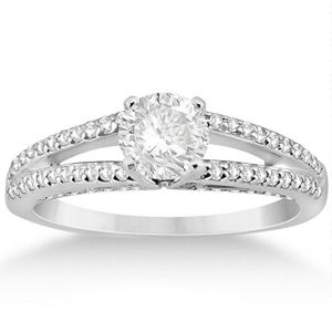 Solitaire Split Shank Diamond Engagement Ring