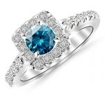 Square Halo Diamond Engagement Ring with a 3 Carat Blue Diamond Heirloom Quality Center