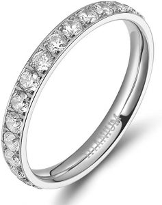 TIGRADE 3mm Women Titanium Engagement Ring Cubic Zirconia Eternity Wedding Band