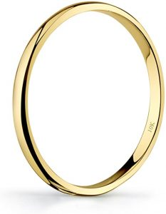 Tesori & Co 10k Yellow or White or Rose Gold Light Comfort Fit 2mm Plain Wedding Band