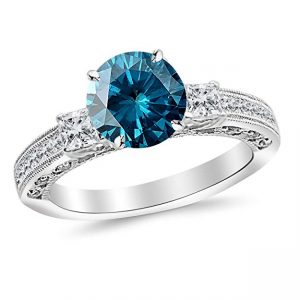 Three 3 Stone Princess Cut Channel Set Diamond Engagement Ring with a 3 Carat Blue Diamond Heirloom Quality Center